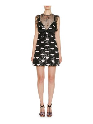 Giambattista Valli Lace Trim Lip-Embroidered Sequin Mini Dress