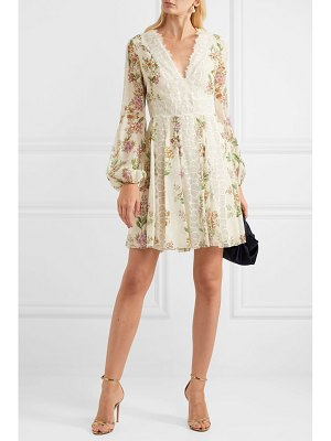 Giambattista Valli lace-trimmed floral-print silk-georgette mini dress