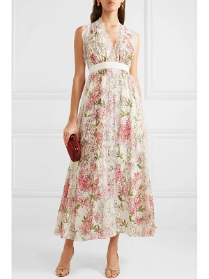 Giambattista Valli lace-trimmed floral-print silk gown
