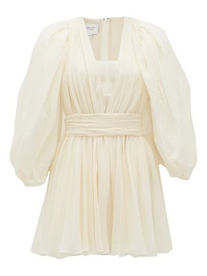 Giambattista Valli plunge-neck gathered silk-georgette mini dress