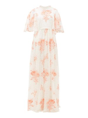Giambattista Valli rose-embroidered cape-sleeve lace gown