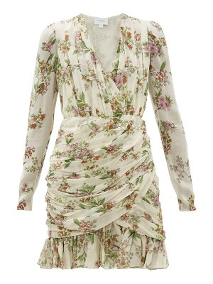 Giambattista Valli ruched floral print silk georgette mini dress