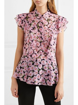 Giambattista Valli ruffled floral-print silk-georgette top