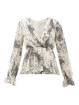 Giambattista Valli square-print ruffled silk blouse