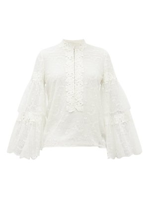 Giambattista Valli tiered-sleeve floral-lace blouse