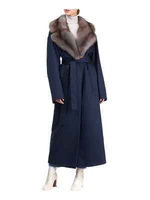 Gianfranco Ferre Cashmere Long Self-Tie Coat with Sable Collar