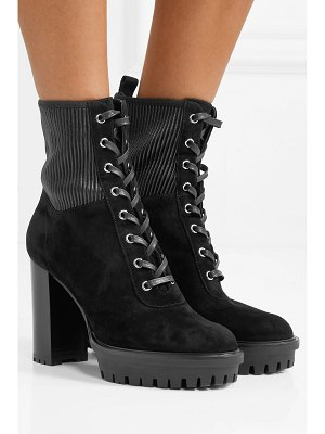 Gianvito Rossi 100 lace-up ribbed leather-paneled suede ankle boots