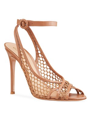 Gianvito Rossi 105mm Net Ankle-Strap Pumps