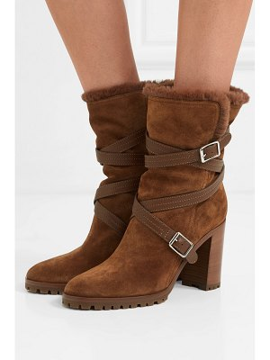 Gianvito Rossi 85 buckled leather-trimmed suede ankle boots