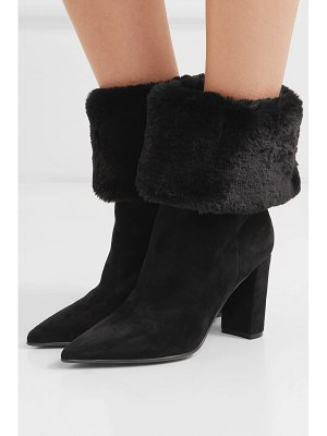Gianvito Rossi 85 suede and faux fur ankle boots