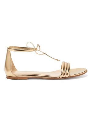 Gianvito Rossi ankle-tie metallic leather sandals