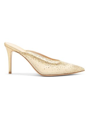 Gianvito Rossi crystal-embellished point-toe mesh mules