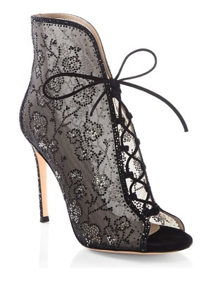 Gianvito Rossi Crystal Mesh Lace-Up Booties