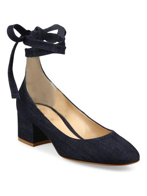 Gianvito Rossi Denim Ankle-Wrap Block Heel Pumps