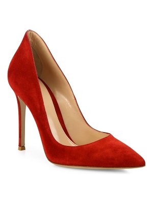 Gianvito Rossi ellipsis high-back suede pumps