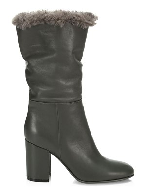 Gianvito Rossi faux fur-trimmed leather boots