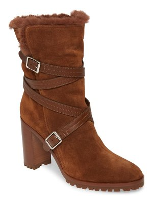 Gianvito Rossi faux shearling lined wrap belt boot