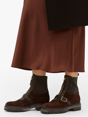Gianvito Rossi ribbed panel buckled suede ankle boots