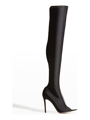 Gianvito Rossi Hiroko Cuissard Glass Point Open-Toe Over-the-Knee Boots