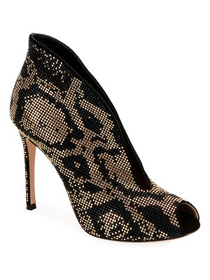 Gianvito Rossi Leopard Beaded V-Neck Booties