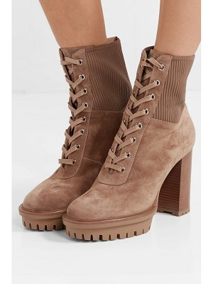 Gianvito Rossi martis 90 lace-up leather-trimmed suede ankle boots