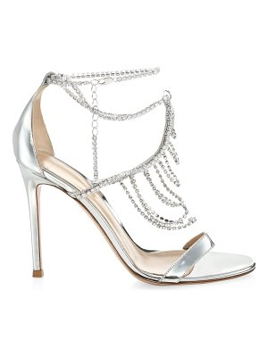 Gianvito Rossi crystal-embellished metallic leather sandals