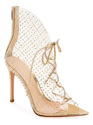 Gianvito Rossi Plexi Crystal Lace-Up Booties