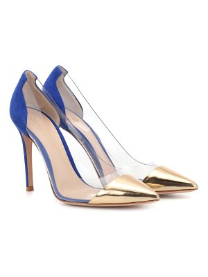 Gianvito Rossi Plexi leather and suede pumps