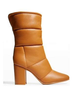 Gianvito Rossi Quilted Lambskin Shearling-Lined Mid Boots