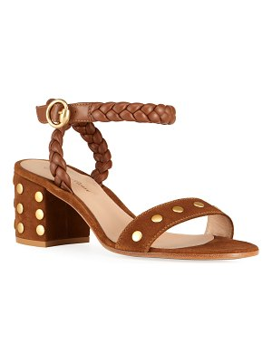 Gianvito Rossi Studded Suede Ankle-Strap Sandals