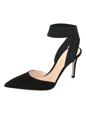 Gianvito Rossi Suede And Stretch Ankle Pump
