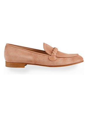 Gianvito Rossi Suede Braided Flat Loafers