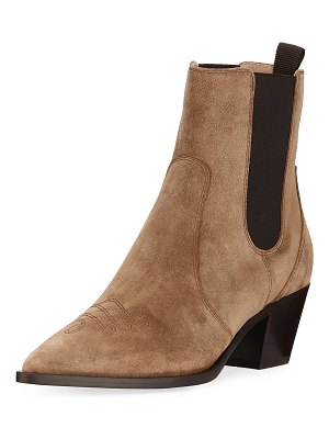 Gianvito Rossi Suede Gored Cowboy Boots