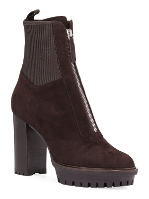Gianvito Rossi Suede Lug-Sole Zip Booties