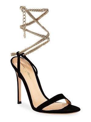 Gianvito Rossi Suede Sandals with Ankle Chain