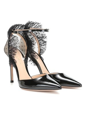 Gianvito Rossi tulle and patent leather pumps