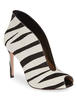 Gianvito Rossi zebra stripe genuine calf hair peep toe bootie