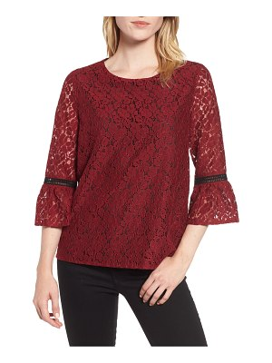 Gibson x glam squad erin allover lace bell sleeve top