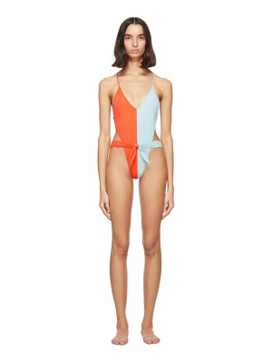 Gil Rodriguez red and blue caracas one-piece swimsuit