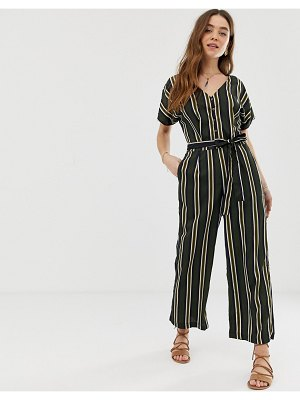 Gilli button front jumpsuit with tie waist in stripe-multi