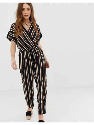 Gilli wrap front jumpsuit with tie waist in stripe-multi