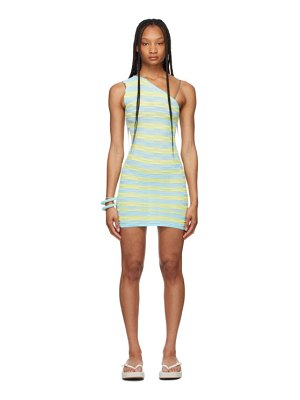 GIMAGUAS ssense exclusive blue and yellow single-shoulder ete dress
