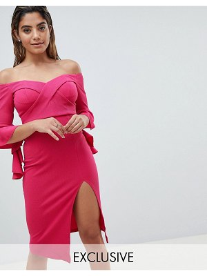 Ginger Fizz cross front bardot midi with thigh split-pink