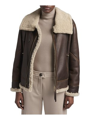 Giorgio Armani Leather Shearling-Lined Motorcycle Jacket