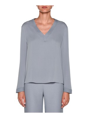 Giorgio Armani Long-Sleeve V-Neck Silk Blouse