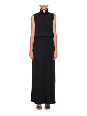 Giorgio Armani Pleated Mock-Neck Sleeveless Chiffon Gown