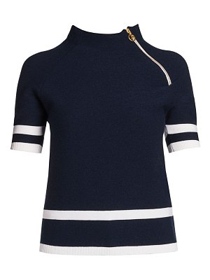 Giorgio Armani short-sleeve knit asymmetrical zip top