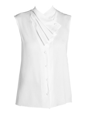 Giorgio Armani silk-blend sleeveless waterfall front blouse