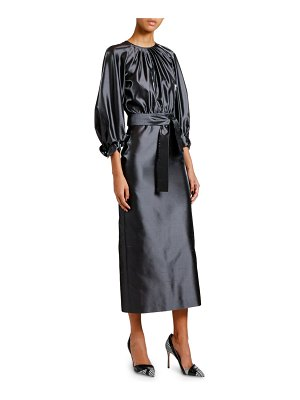 Giorgio Armani Silk Satin 3/4-Sleeve Belted Dress