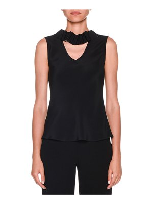 Giorgio Armani Sleeveless Silk Blouse with Detachable Ribbon Trim
